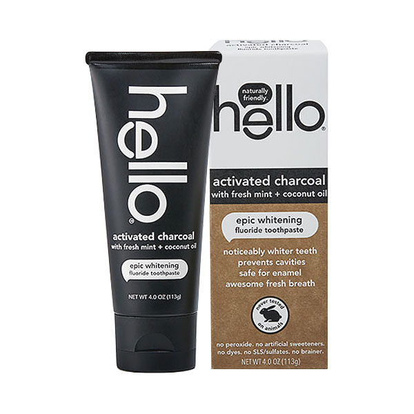 Toothpaste Hello Activated Charcoal Epic Whitening Fluoride